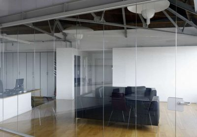 in this architects practice, our all glass doors help create privacy whilst retaining an open plan feel.