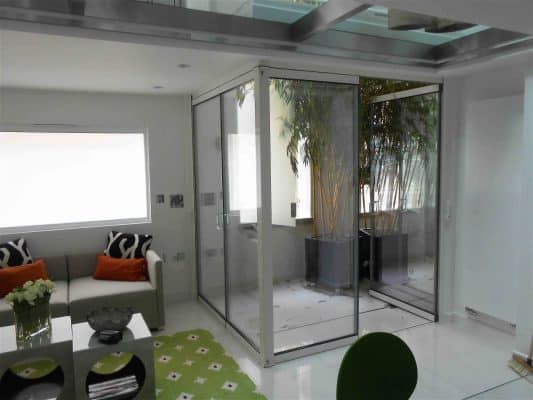 image showing internal glass doors with door open
