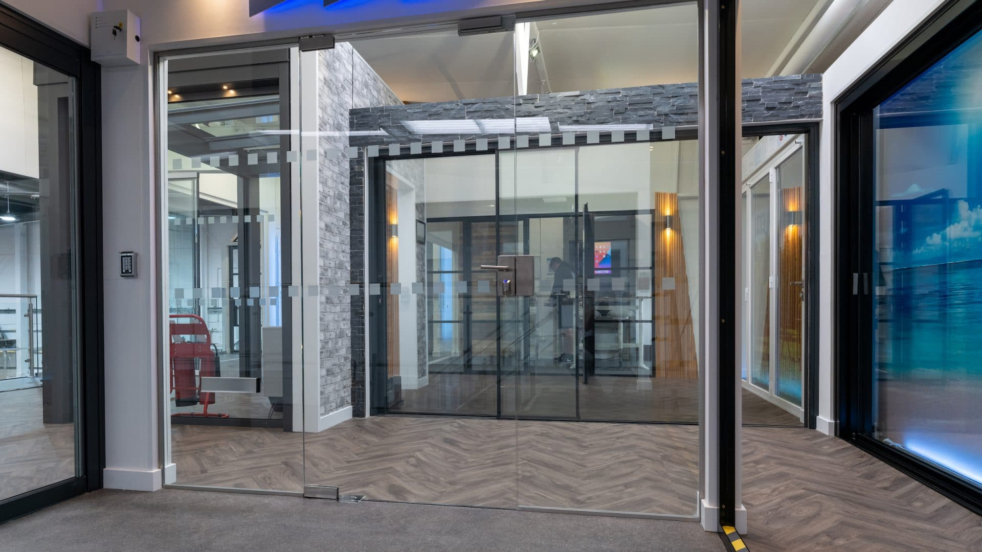 frameless glass porch in a showroom