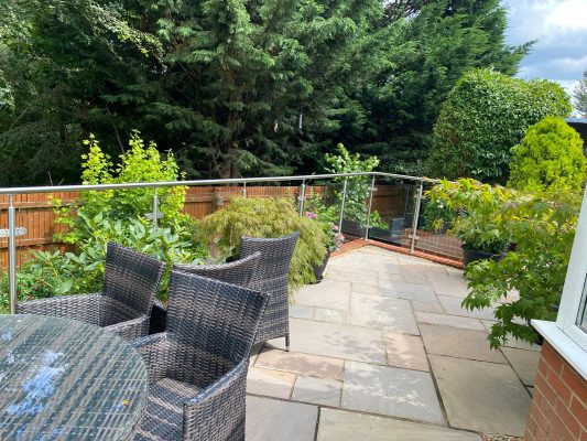 patio area with frameless glass balustrades