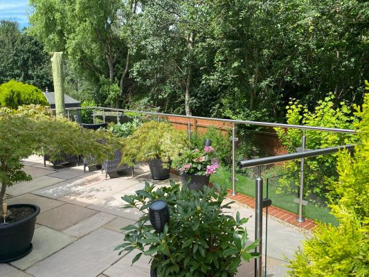 glass balustrades in rochester to a new patio area